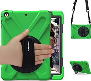 BRAECN iPad Air 1st Generation Case,Heavy Duty Full-Body Rugged Protective iPad Air 9.7 Case with 360 Degree Swivel Kickstand/Hand Strap/Adjustable Shoulder Strap for ipad air Protective case-Green