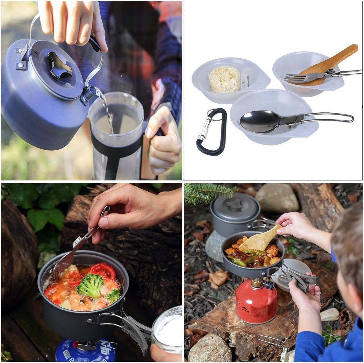 AUTOPkio Juego de Utensilios de Cocina para Camping, portátil y liviano para cocinar al Aire Libre en sartén con Cacerola y abrebotellas para 2 o 3 ...