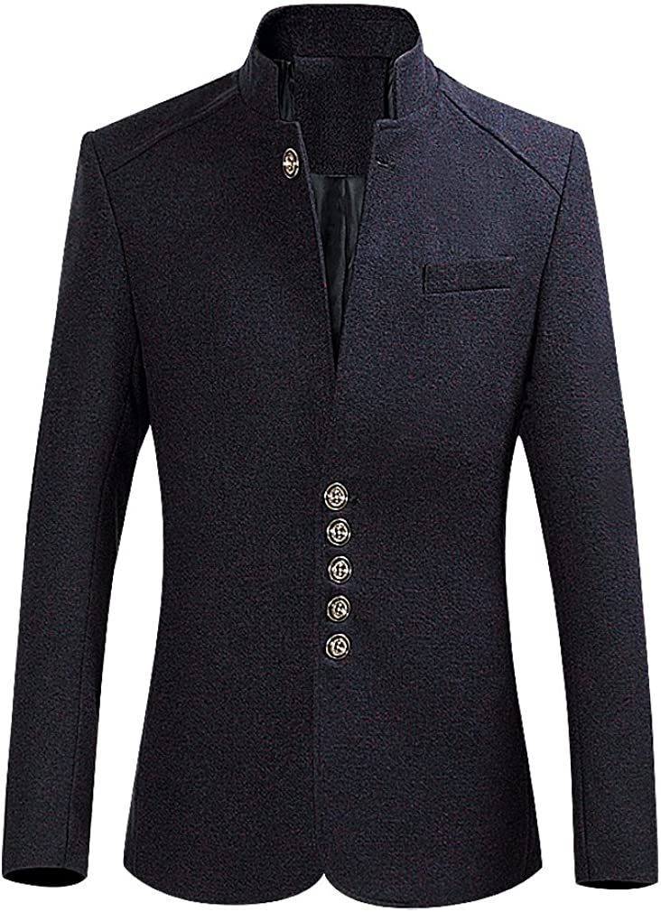 BAMan Men Speckled Or Solid Button Up Stand Collar Elegant Tailored Blazer