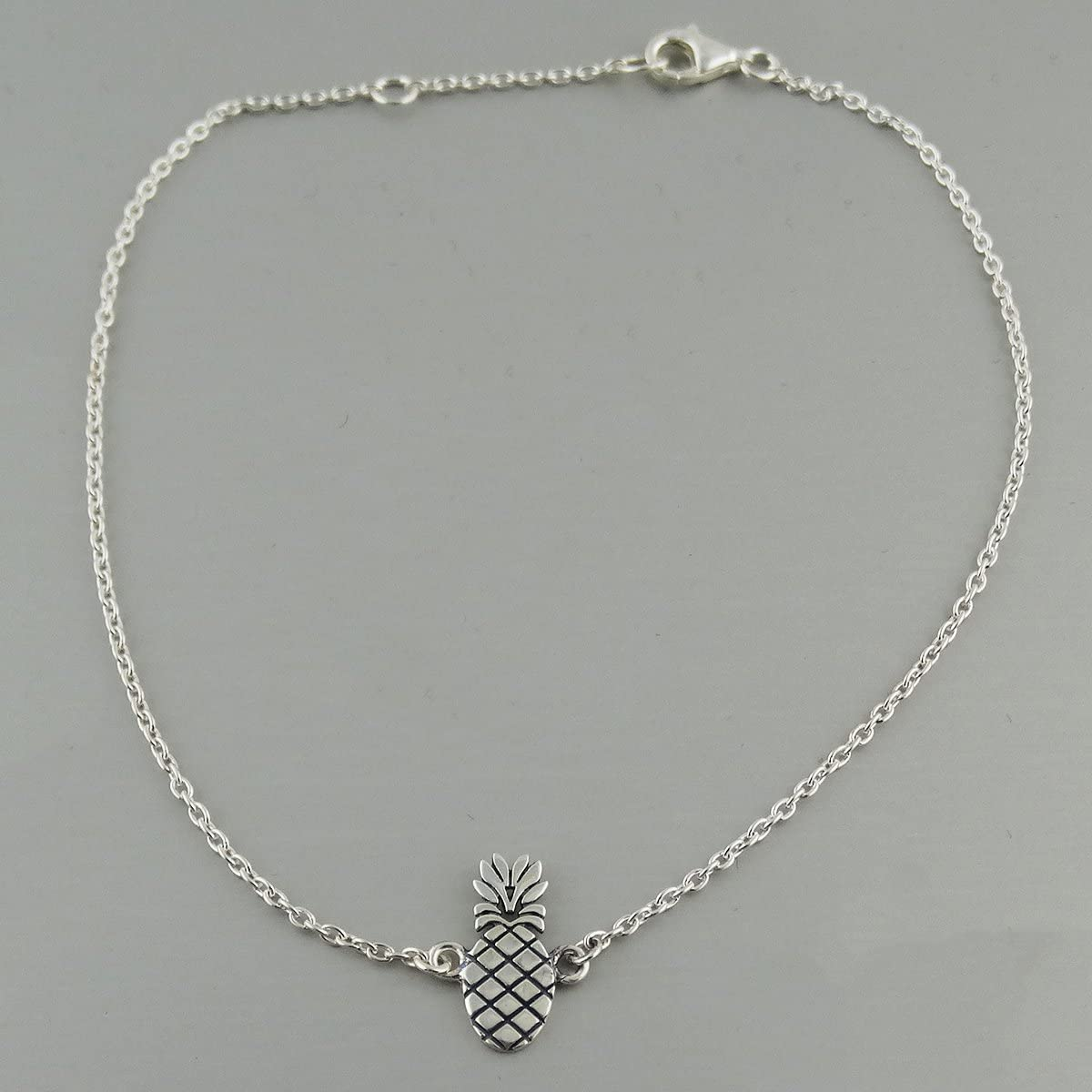FashionJunkie4Life Sterling Silver Pineapple Anklet Adjustable 9 or 10 Hawaii Beach Vacation