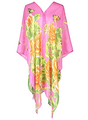 S.K LUXURY Women's Summer Beach Floral Printed Chiffon Caftan Poncho Tunic Top Cover Up Rose-411 One Size
