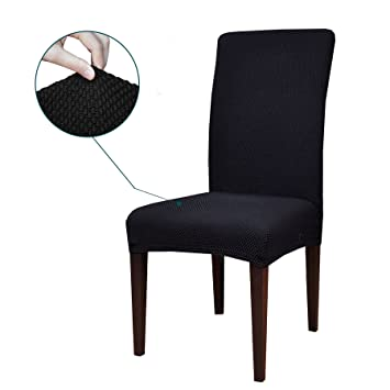 Subrtex Jacquard Stretch Dining Room Chair Slipcovers  4  Black Jacquard. Amazon com  Subrtex Jacquard Stretch Dining Room Chair Slipcovers