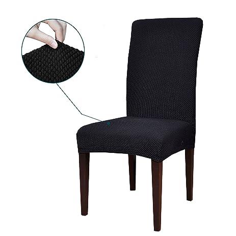Subrtex Jacquard Stretch Dining Room Chair Slipcovers 4 Black