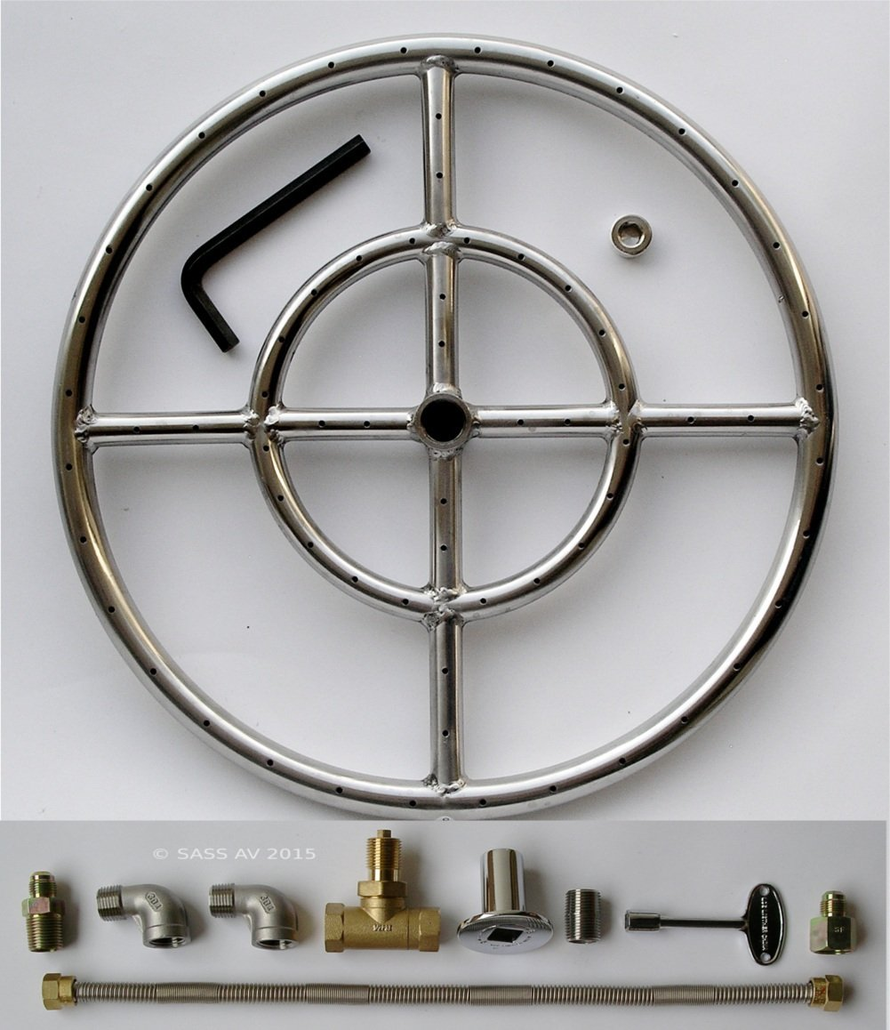 Fire Pit Burner Ring, 15'' Diameter Stainless Steel Double ring, 2 Elbows Kit with Connector