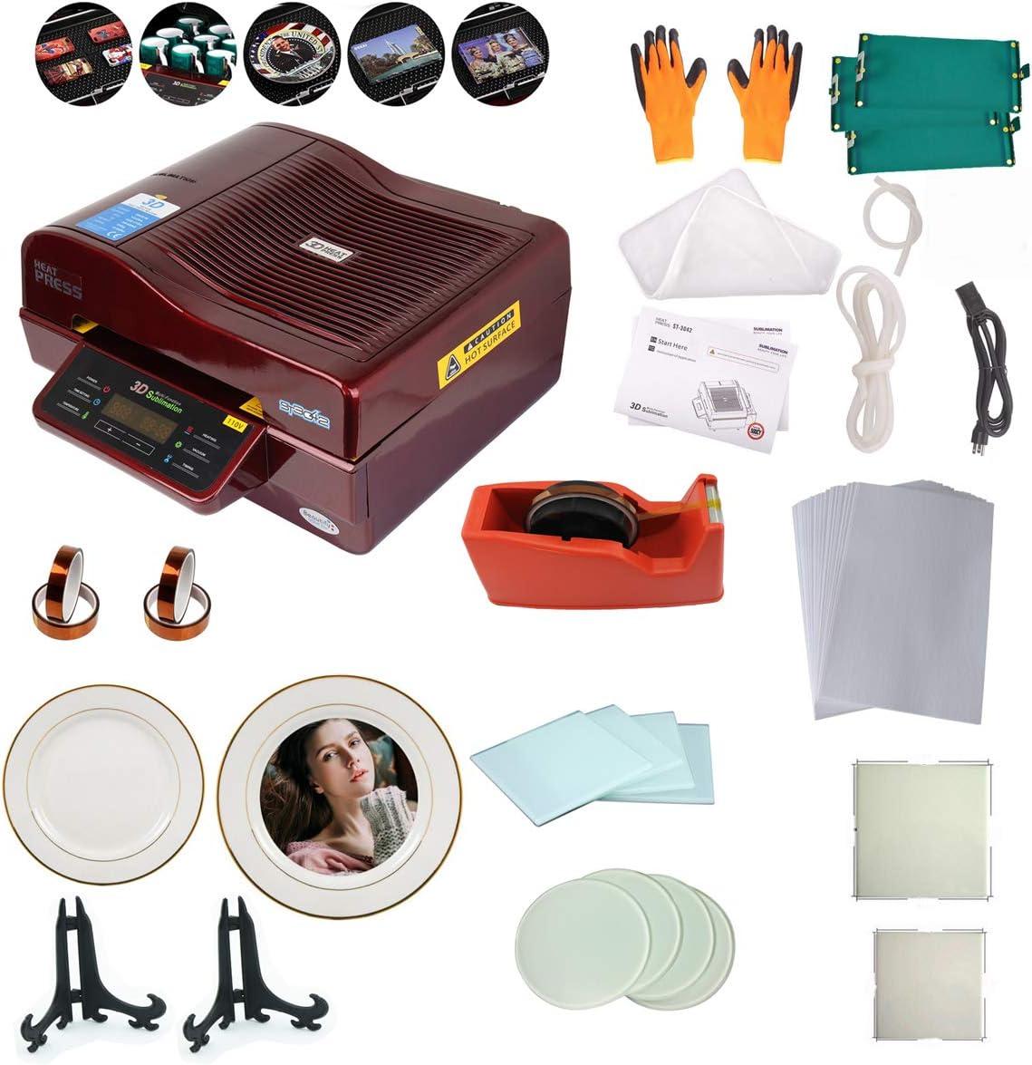 TECHTONGDA 3D Vacuum Sublimation Heat Press Machine Muti-fuction Vacuum Transfer Machine Kit with Plates Tape Cutter Paper Glass Coaster Ceramic Tile 110V