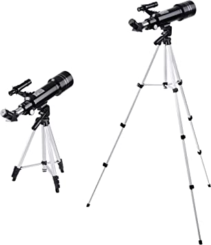 AW 70mm Aperture 400mm Focal Length Astronomy Refractor Telescope Refractive Spotting Scope Eyepieces Adjustable Tripod Kids Beginners