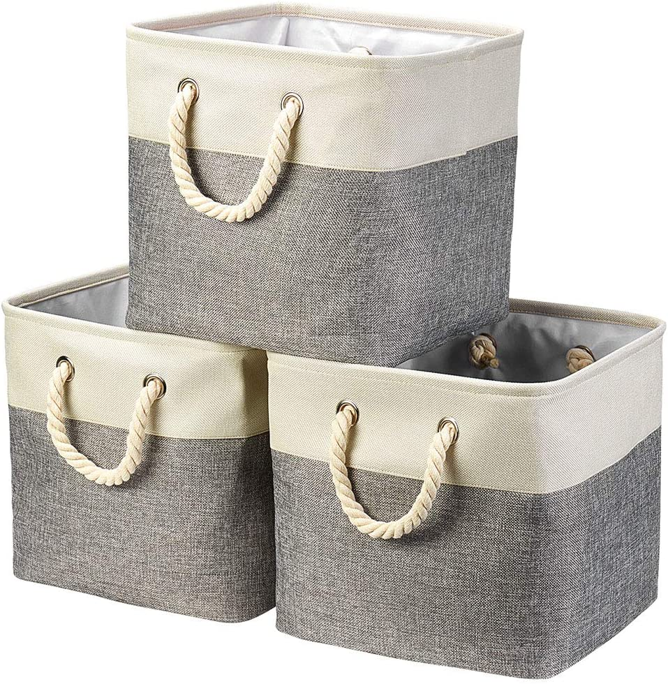 """i BKGOO 3Pack Large Foldable Storage Bins,Collapsible Sturdy Cationic Fabric Organizing Storage Basket Cube with Cotton Handles for Home Office Shelf Clothes Toys Beige-Grey (13""""×13""""×13"""")"""