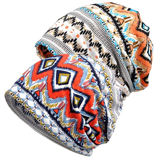 21c60930119 Senker 2 Pack Chemo Hats Womens Baggy Slouchy Beanie Winter Cancer Caps  Infinity Scarf