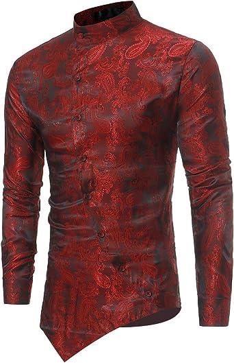 Camisas de Vestir Casual para Hombre Camisas Steampunk Blancas y Negras de Vino Negro Camisa de Manga Larga Slim Fit con Cuello Abotonado con Cuello Abotonado Camisas: Amazon.es: Ropa y accesorios