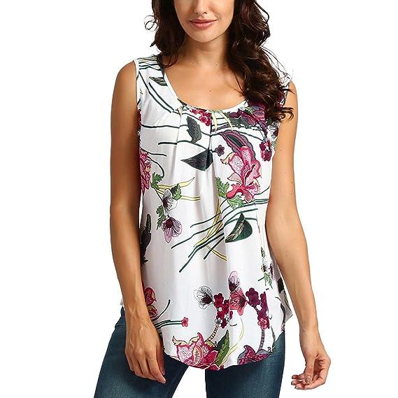 Camisola Mujeres Camisetas sin Mangas, O-Cuello Estampado Floral Dama Sexy Blusa Tiras Camisola