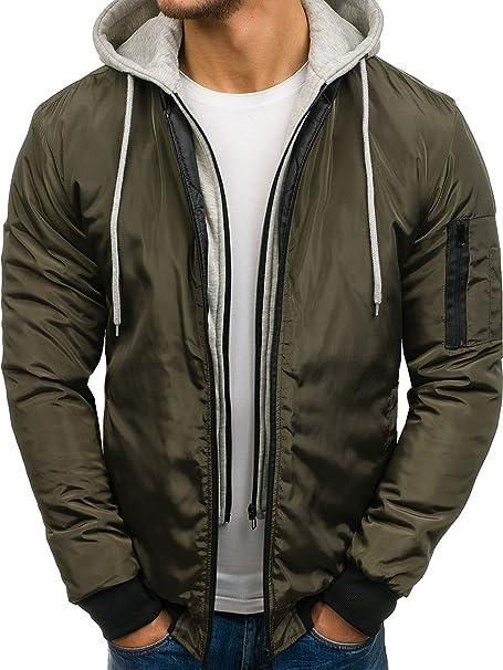 BOLF Hombre Chaqueta de Entretiempo Bomber Cierre de Cremallera J.Style AK98 Verde XXL [4D4]: Amazon.es: Ropa y accesorios