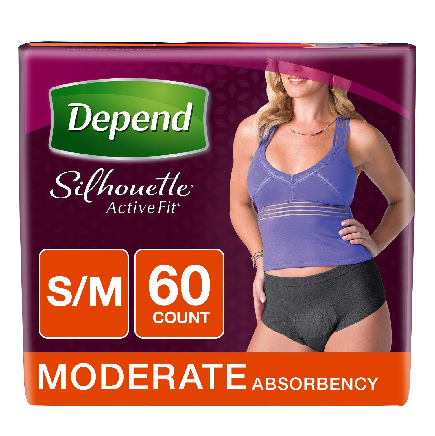 Depend Silhouette Active Fit Adult Diapers for Women, Moderate Absorbency, S/M, Black, 60 Count