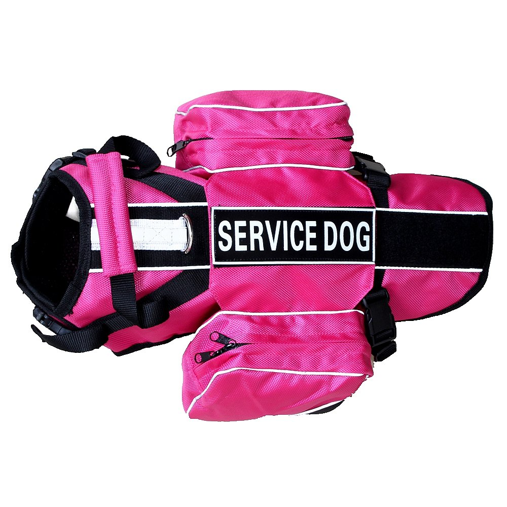 haoyueer Service Dog Backpack Harness Vest Removable Saddle Bags with Label Patches(Hot Pink,M)