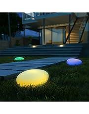 Luz Solar, Kealive Lámpara Solar Exterior, 8 Colores Ajustables, Lámpara Solar Clase IP67 a Prueba De Agua Fuera de La Forma de La Piedra Para Jardín, Patio