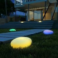 LED Solarleuchten, Kealive Gartenleuchten Kugelleuchte mit einem längsten Innendurchmesser von 40 cm, 8 verstellbarer Farben, Wasserdichte Klasse IP67 Solarlampe Kieselstein Form für Garten, Hof usw.