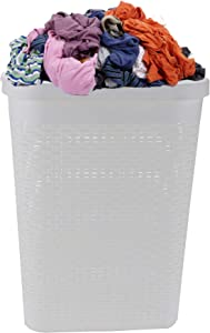 Mind Reader Basket Laundry Hamper with Cutout Handles, Washing Bin, Dirty Clothes Storage, Bathroom, Bedroom, Closet, 40 Liter, White
