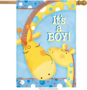 Briarwood Lane It's A Boy House Flag Baby Shower Giraffes Welcome 28