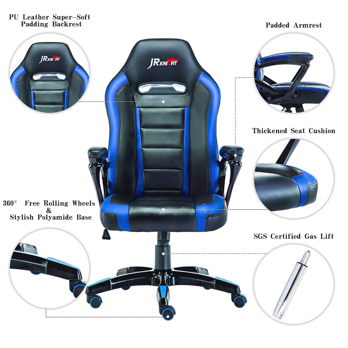 JR Knight Racing Silla X, piel sintética, silla de escritorio para videojuegos, silla diseñada para jóvenes generaciones Black&blue