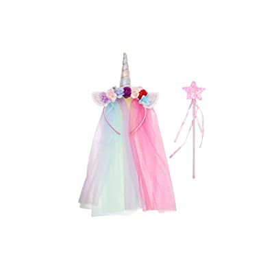 Unicorn Headband with Mesh and Fairy Wand Set.(Fantasy White): Clothing