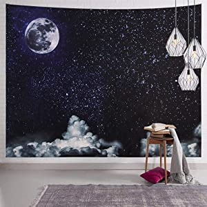 SENYYI Moon Stars Wall Tapestry Wall Hanging Outer Space and Galaxy Tapestry Night Sky with White Cloud Home Decor for Room (51.2 x 59.1 inches)