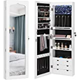 """SONGMICS Extended 4.9"""" Depth LED Jewelry Cabinet Armoire with 6 Drawers Lockable Door/Wall Mounted Jewelry Organizer White Patented Mother's Day gift UJJC88W"""