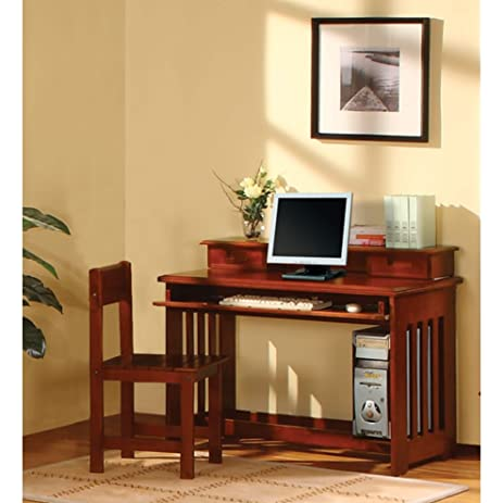 American Furniture Classics Merlot Finished Solid Pine Student Desk With  Hutch And Sturdy Chair