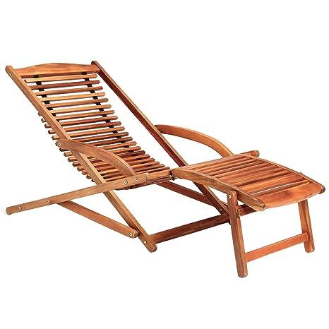 Deuba 2 en 1 tumbona y silla de madera de Acacia con ...