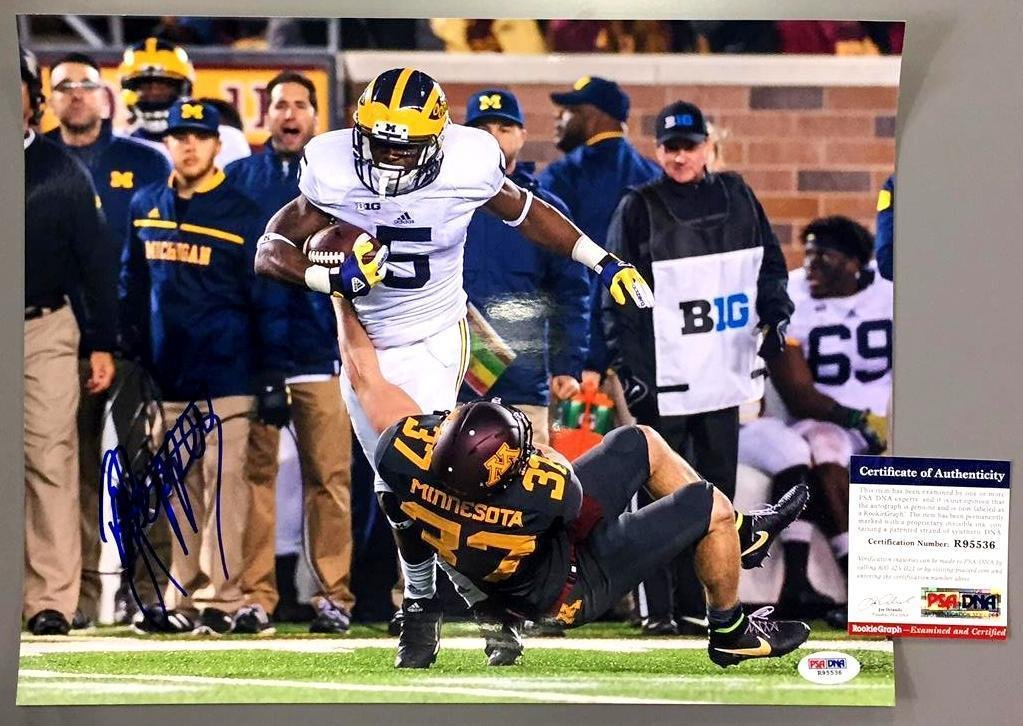 Jabrill Peppers Signed Photo - 11x14 ROOKIE GRAPH COA - PSA/DNA Certified Locker Room Authentics