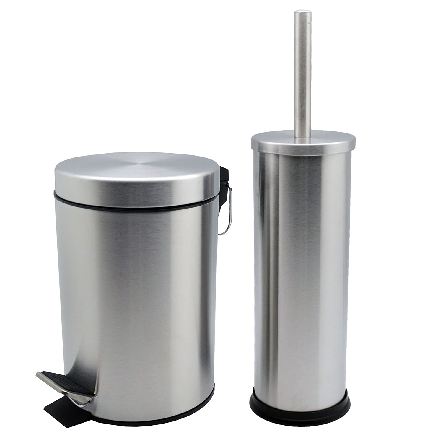 Harbour Housewares Bathroom Pedal Bin and Toilet Brush Set - 3 Litre Bin - Matt Finish