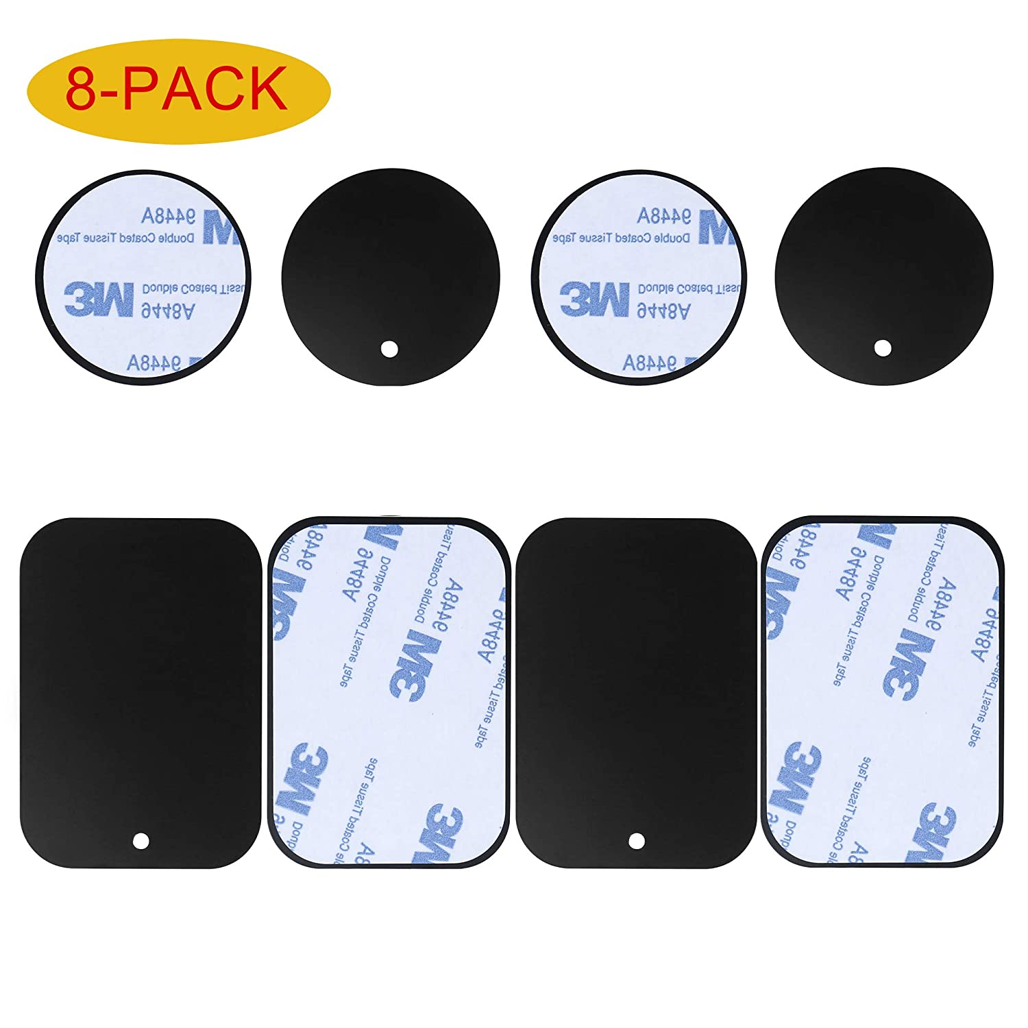 8-Pack Replacement Mount Metal Plates D.Sking Car Phone Holder Iron Plates for Car Mount Car Kits (8-Pack Black)