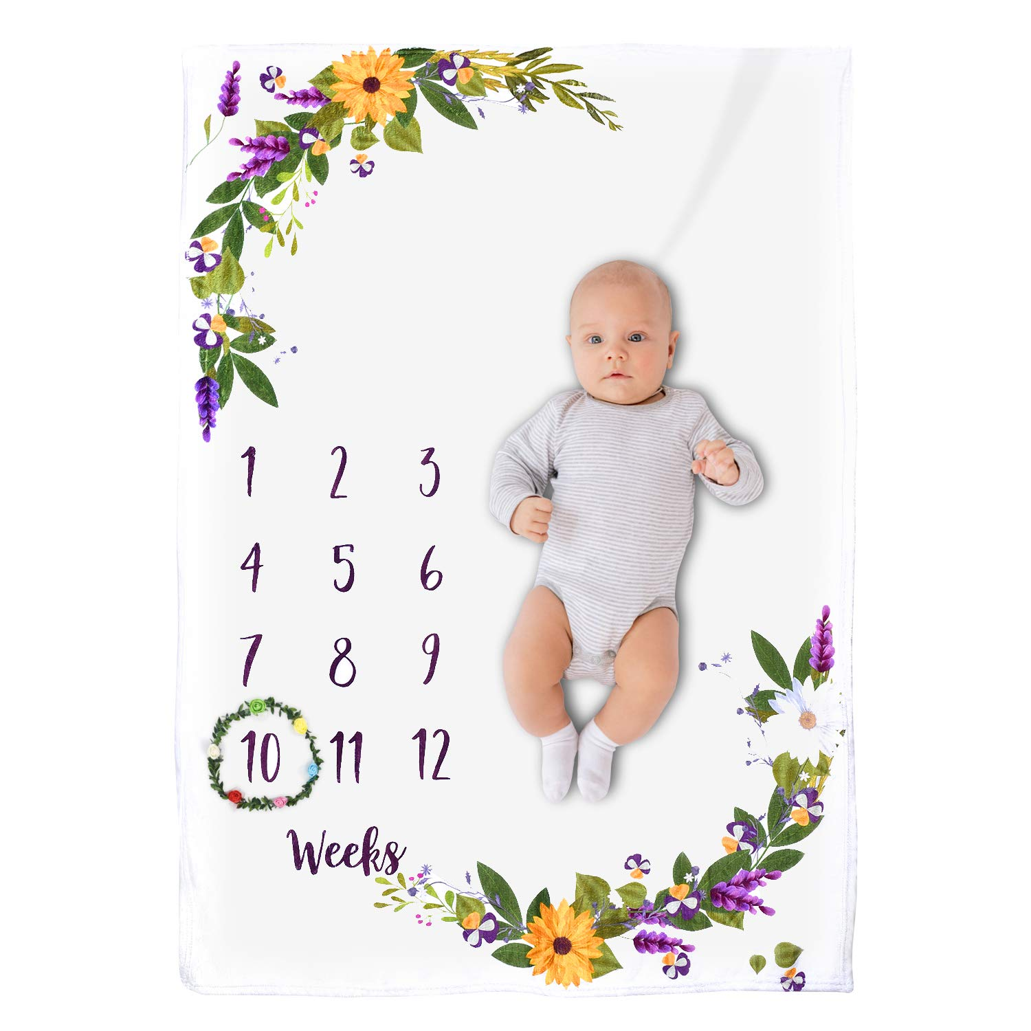 Baby Monthly Milestone Blanket Girl Boy, Floral Soft Fleece Baby Memory Blankets for Girls and Boys Infant Newborn Photography Background Blankets New Mom Baby Shower Gift
