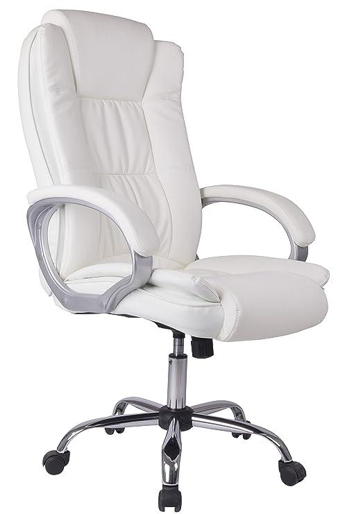 Venta Stock Confort 2 - Sillón de Oficina elevable y reclinable, Piel sintética, Color Blanco