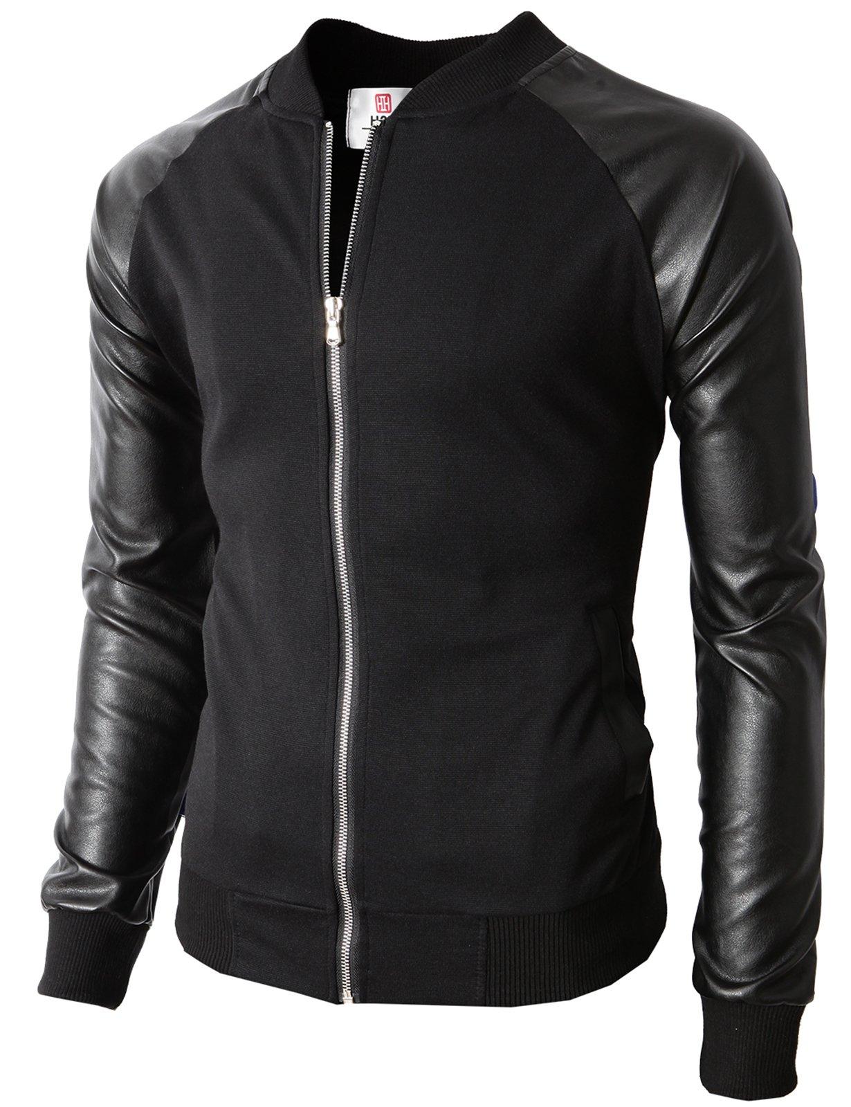 H2H Men's Cotton Lightweight Slim Fit Jacket Casual Wear BLACK US M/Asia L (KMOJA0126) by H2H