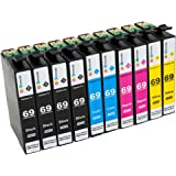 GPC Image 10 Pack Compatible Ink Cartridge Replacement for Epson 69 (4 Black, 2 Cyan, 2 Magenta, 2 Yellow) for Epson WorkForce 30 500 310 1100 Stylus NX415 NX515 C120 CX9400 CX8400 NX215 NX305 Printer