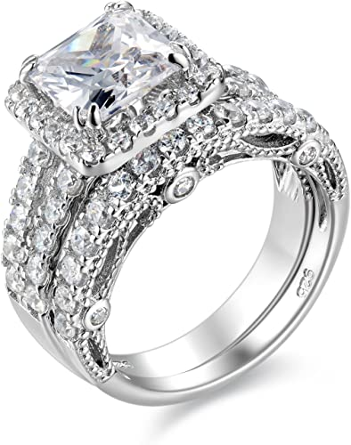 Amazon Com Wuziwen 4ct Engagement Ring For Women Sterling Silver Cubic Zirconia Wedding Band Bridal Set Jewelry