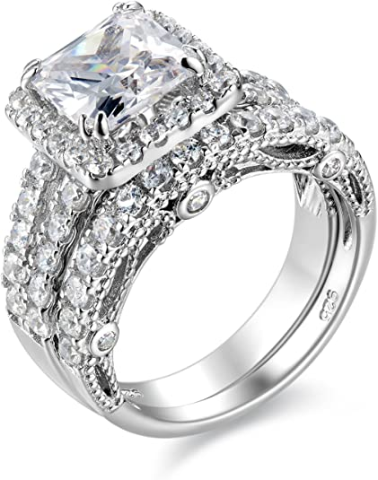 Details about  /New 925 Sterling Silver Cz White Round Four Prong Eternity Band Women Ring Gift