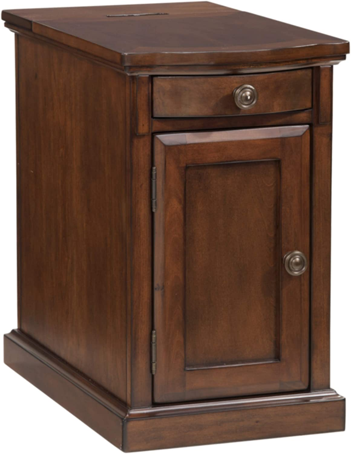 Amazon Com Signature Design By Ashley Laflorn Chairside End Table With Usb Ports Outlets Medium Brown Furniture Decor