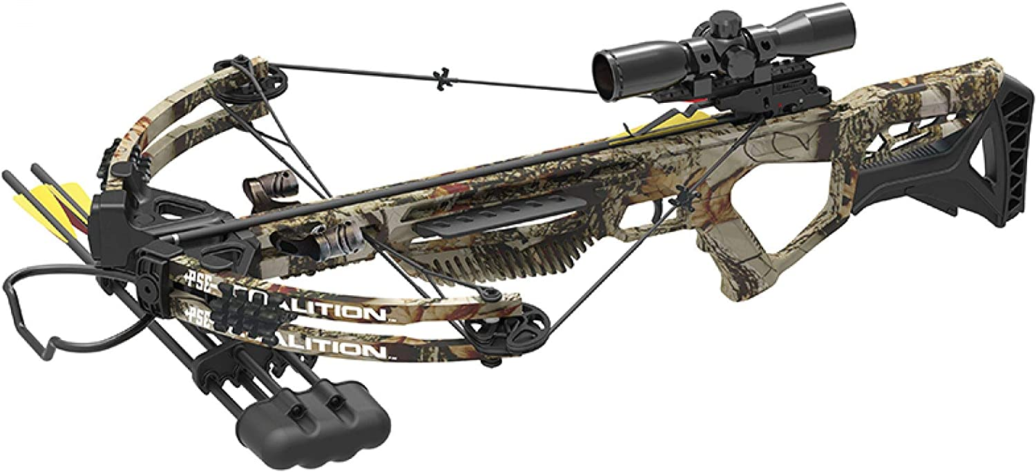 PSE Crossbow Coalition Hunting Compound Camo 380FPS Cocking Rope, Wax, Quiver, Arrows, Scope for Left and Right Hand
