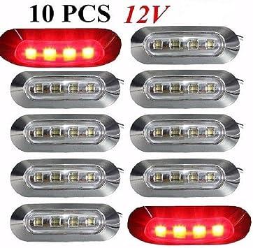 10 X 24 V 4 Led Hinten Seite Outline Marker Rot Leuchten Mit Clear Lens Chrom L Nette Lkw Kipper Auto Caravan Wohnmobil Bus Van Au En Innen Verwendung Amazon De Auto
