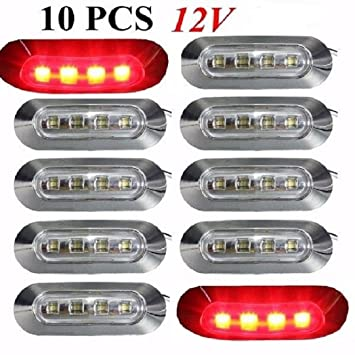10x LED 12V Side Front Chrome Bezel White Marker Lights Clear Lens Truck Lorry Caravan Camper Van Bus