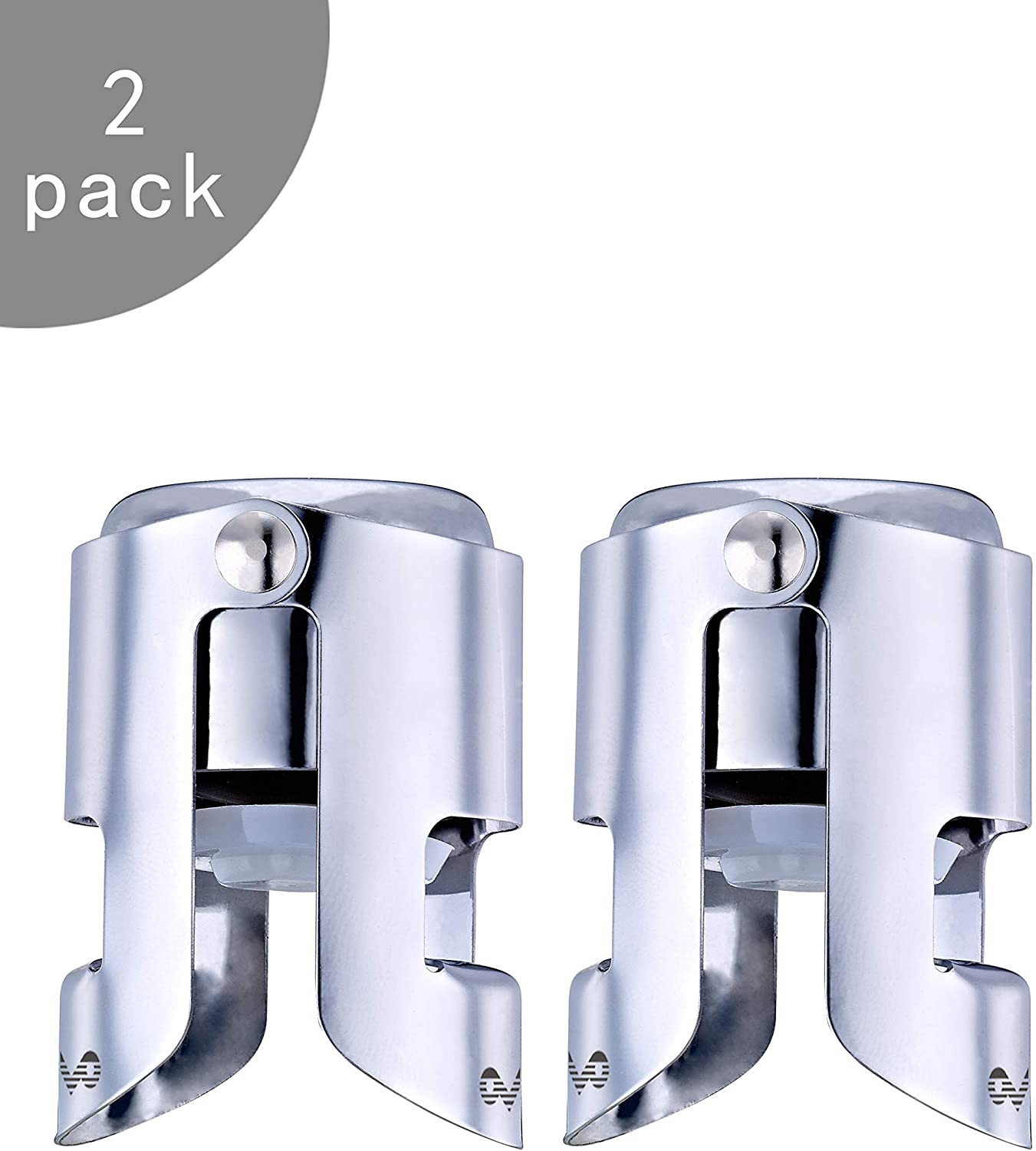OWO Champagne Stopper with Stainless Steel, Champagne Saver Plug with Food Grade Silicone, Reusable Bottle Sealer Keeps Champagne Fresh, Best Champagne Accessories Gift (2pack set)