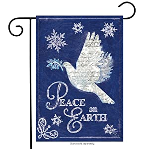 "Briarwood Lane Peace On Earth Christmas Garden Flag Dove Religious Holiday 12.5"" x 18"""