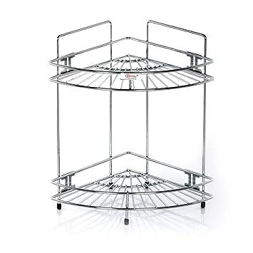 Regalo Corner Stand Small Single 2 Tier Stainless Steel Multipurpose Storage Rack Shelf Kitchen Bathroom Etc Amazon In