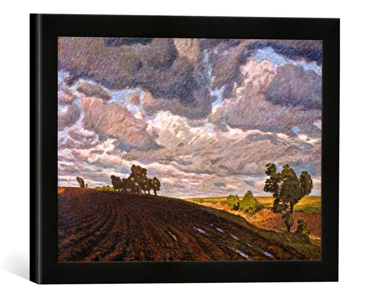 Gerahmtes Bild von Fritz Overbeck Stürmischer Tag, Kunstdruck im hochwertigen handgefertigten Bilder-Rahmen, 40x30 cm, Schwarz matt