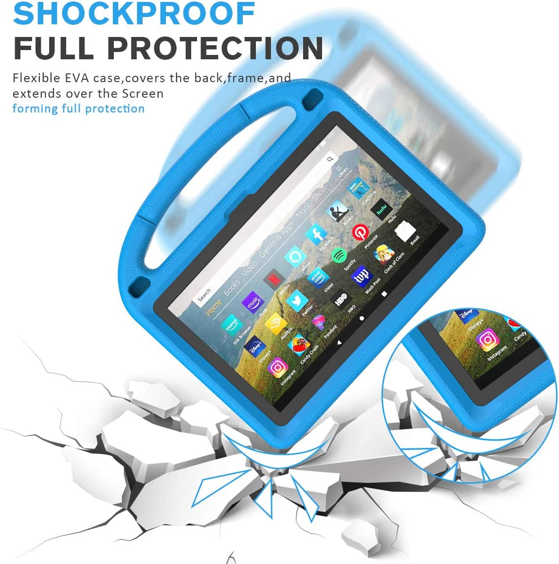 Fire HD 8 Plus Case 10th Generation,2020 Release Rose Shock Proof Light Weight Protective Handle Stand Kids Case for  Fire HD 8 Tablet//HD 8 Plus Tablet BMOUO Kids Case for All-New Fire HD 8 2020