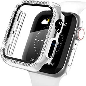 Recoppa Apple Watch Case with Screen Protector for Apple Watch 44mm Series 6/5/4/SE, Bling Crystal Diamond Rhinestone Ultra-Thin Bumper Full Cover Protective Case for Women Girls iWatch Silver