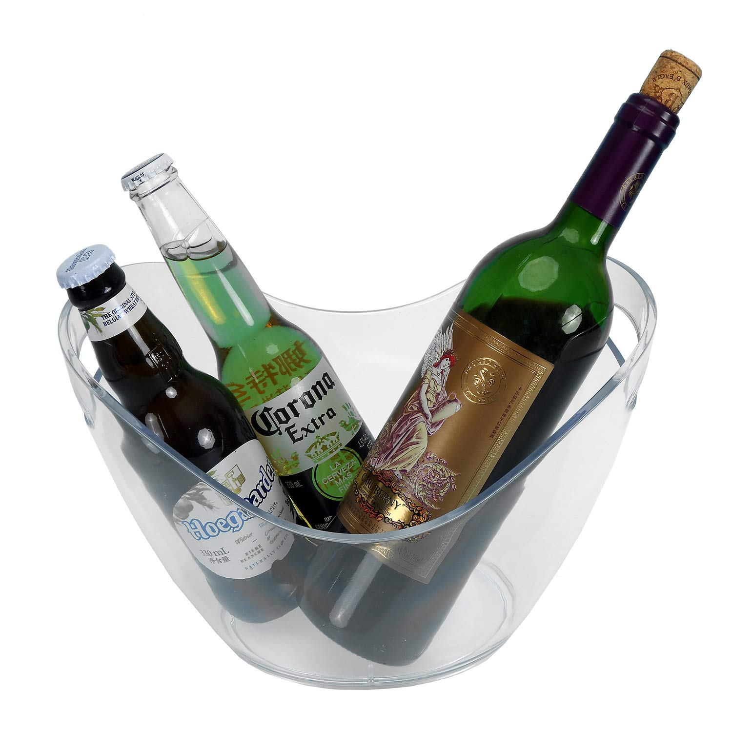 Yesland Ice Bucket Clear Plastic 3.5 Liter Storage Tub Perfect for Wine Champagne or Beer Bottles
