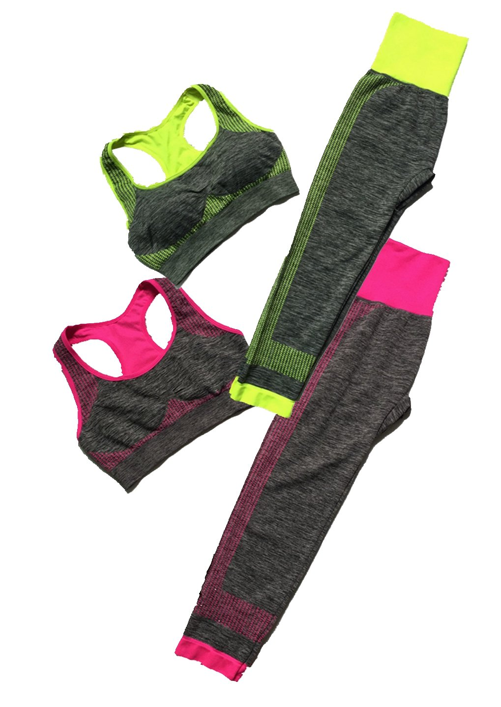 Women's 2 Pieces Fitness / Yoga Workout Sports Bra Pants Leggings Set (2 Set/4 Pieces),rose/Green,38C 38D 40B 40C 42A 42B