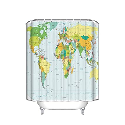Prime Leader Color World Map Shower CurtainExtra Long Bath Decorations Bathroom Decor Sets With