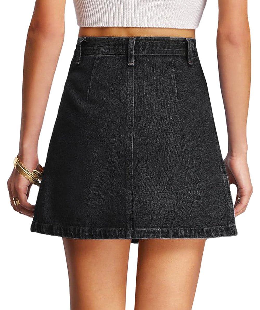 35b04e31eac SheIn Women's Button Front Denim A-Line Short Skirt at Amazon Women's  Clothing store: